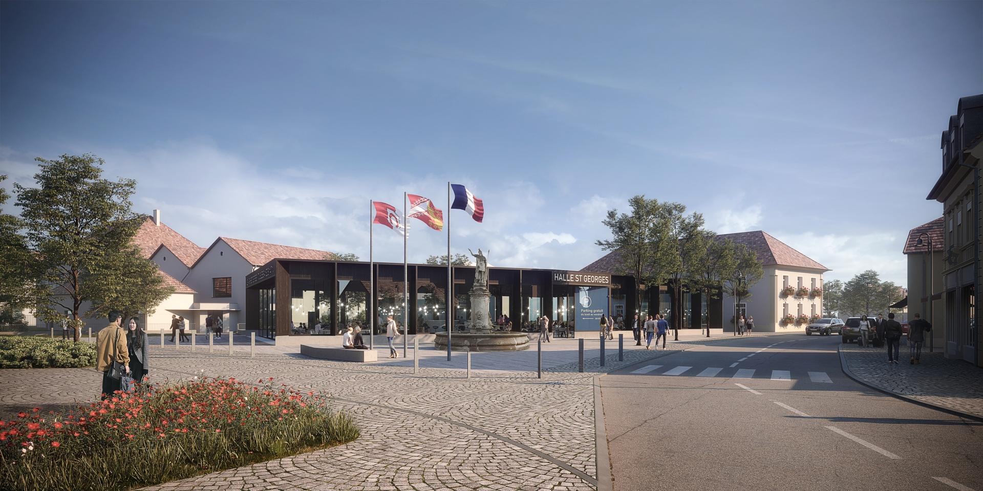 Halle de marché et parking Brunstatt-Didenheim, 2017 | Henner + Roland Architectes